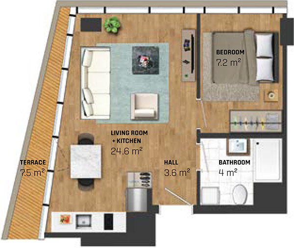 1 Bed Apartment (type B)