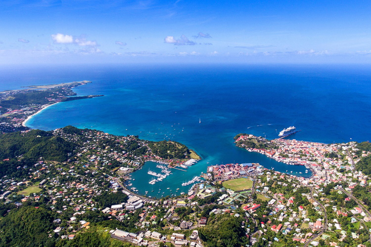Coastal photo of Grenada in the Caribbean.
